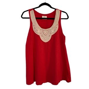 UO Pins & Needles Red Embroidered Scoop Neck Tank